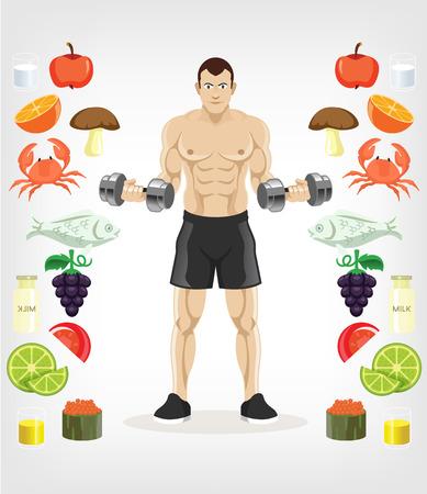 Vector slim man flat illustration