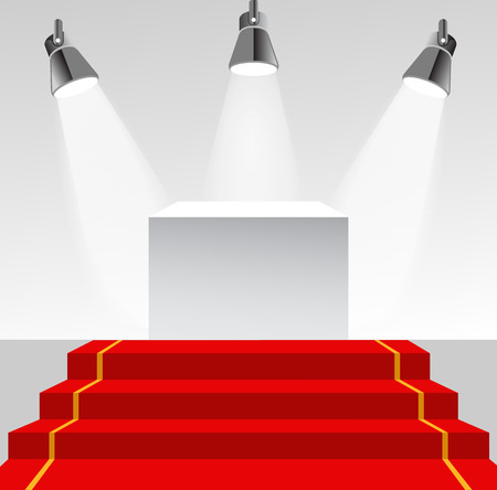 showpiece: Illuminated pedestal with red carpet