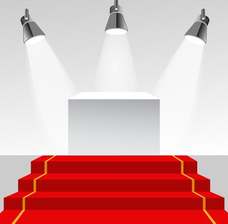 illuminated: Illuminated pedestal with red carpet