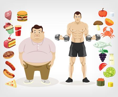hombre flaco: Vector ilustración de la dieta plana
