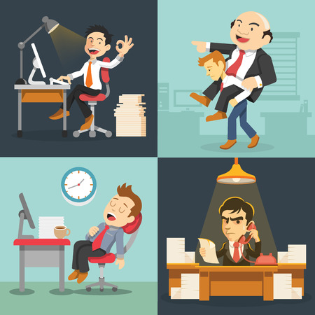 cartoon bed: Vector hard work flat illustration set