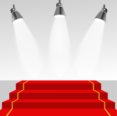 red carpet event: Illuminated pedestal with red carpet