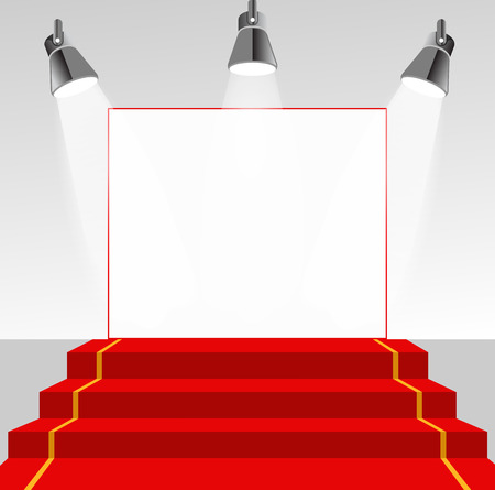 Illuminated picture pedestal with red carpet Zdjęcie Seryjne - 40158625