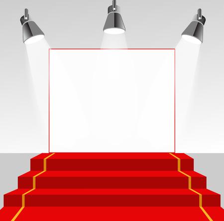 Iluminado pedestal foto con alfombra roja Foto de archivo - 40158625