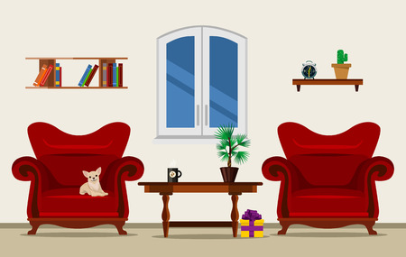 Vector woonkamer flat illustratie Stock Illustratie