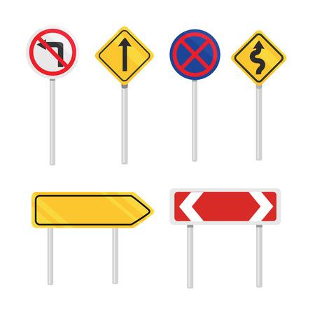 벡터 도로 표지판 평면 아이콘을 설정 일러스트