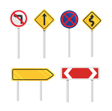 Vector road signs flat icon set