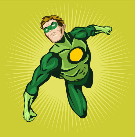Vector superhero comic illustration Çizim