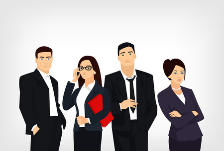 Young business people. Vector flat illustration