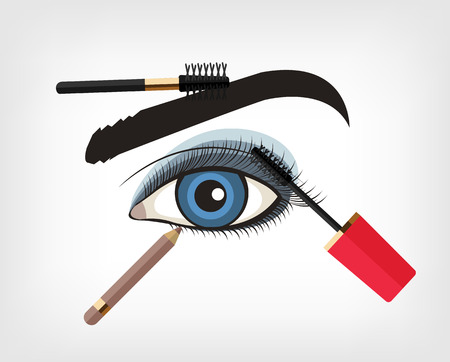 make up eyes: Vector make up flat illustration