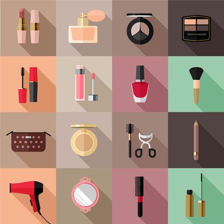 Vector cosmetics flat icon set Vector