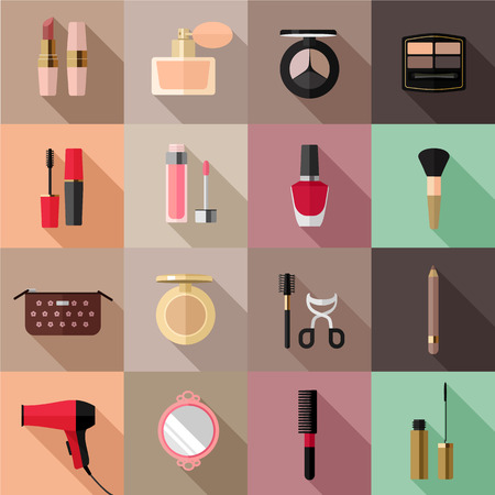 blush: Vector cosmetics flat icon set Illustration