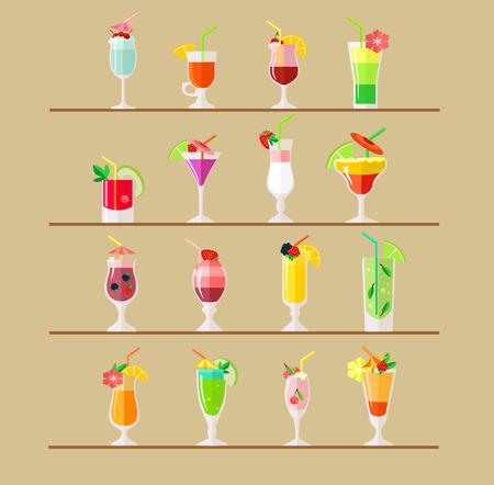Vector cocktail flat illustratie Stock Illustratie