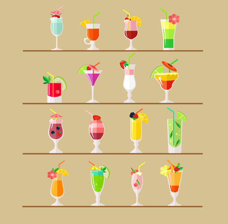 Vector cocktail flat illustration Çizim
