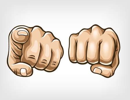 clenched fist: Vector fist illustration set
