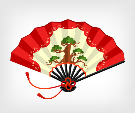 japanese fan: Vector Japanese fan flat illustration