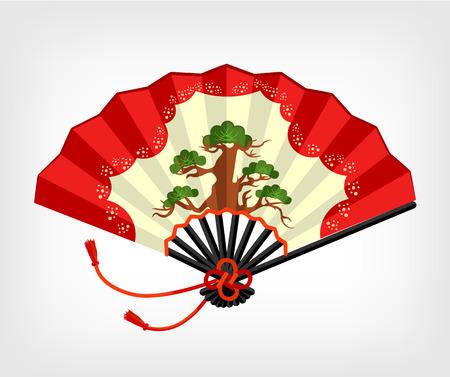 open fan: Vector Japanese fan flat illustration