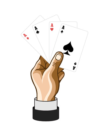 game cards: Vector hand with game cards. Comic illustration