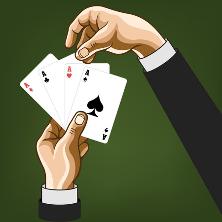 lucky man: Vector hands wirh game cards. Comic illustration
