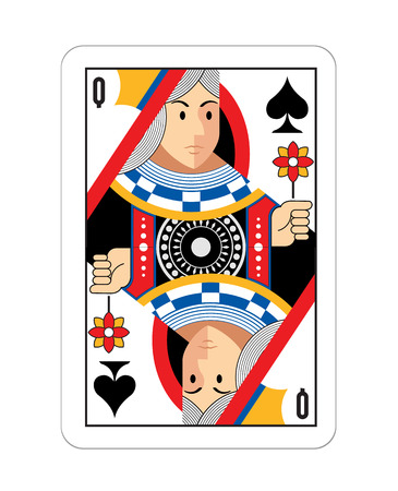 play card: Vector Queen game card illustration