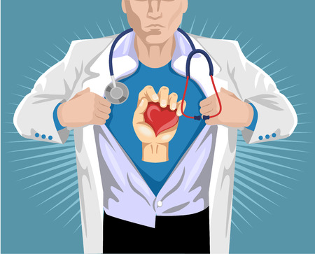 medical doctors: Doctor superhero. Vector flat illustration Illustration