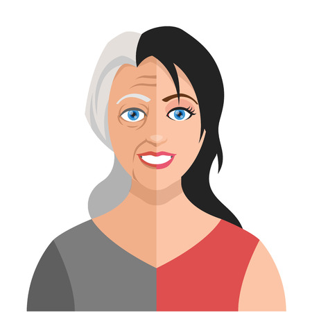 Vector old young woman flat illustration Illustration