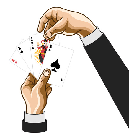 joker: Vector hands wirh game cards. Comic illustration