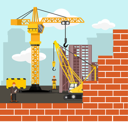 digger: Construction and building vector flat illustration Illustration