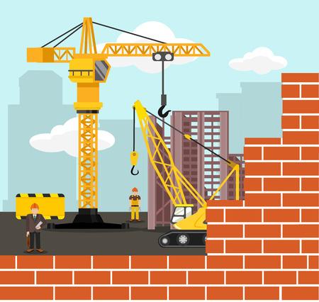 block of flats: Construction and building vector flat illustration Illustration