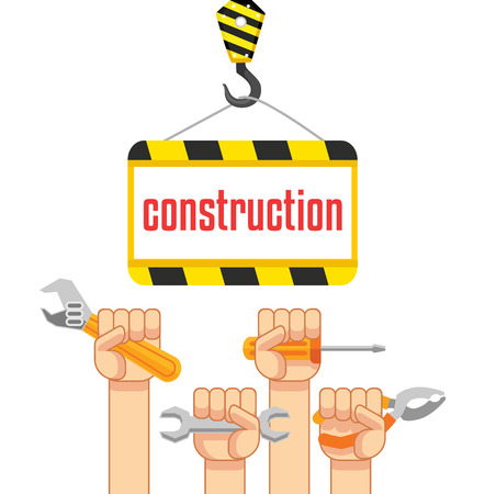 under construction sign with man: Vector construction flat illustration Illustration