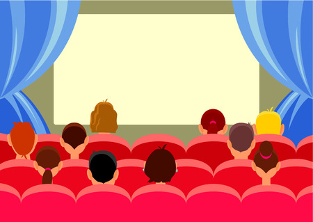 red theater curtain: Cinema hall with people. Vector flat illustration