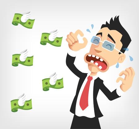 Uomo d'affari perde soldi. Vector piatta illustrazione