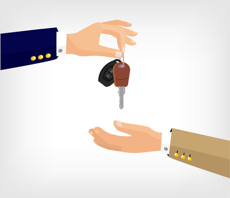 Vector hands with key flat illustration Vettoriali
