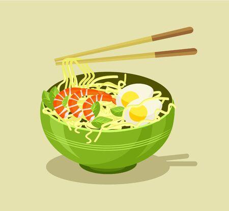 instant noodle: Noodles vector flat illustration Illustration