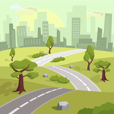 meandering: Landscape. Vector flat illustration