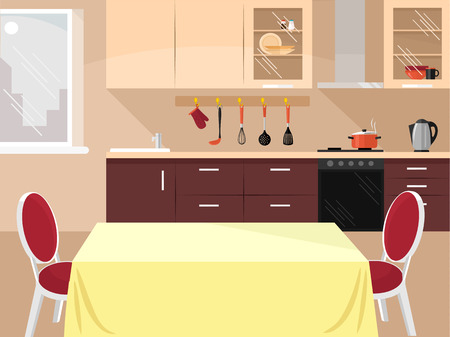 Vector kitchen flat illustration Çizim