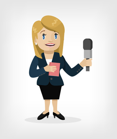newscast: Vector cartoon journalist flat illustration