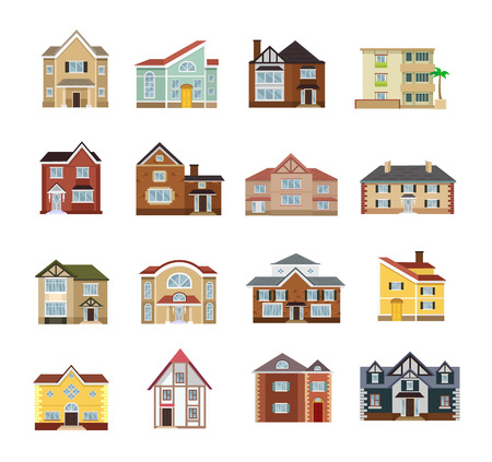 houses street: Vector house flat icon set
