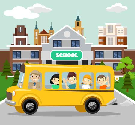 chofer de autobus: Vector escuela ilustración plana