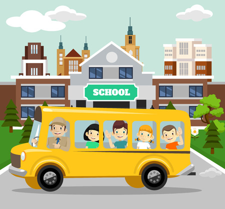 truck road: Vector school flat illustration