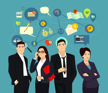 business communication: Business communication vector flat illustration Illustration