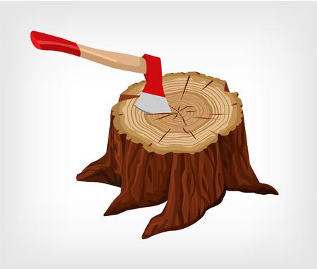 deforestation: Tree stump. Vector flat illustration Illustration