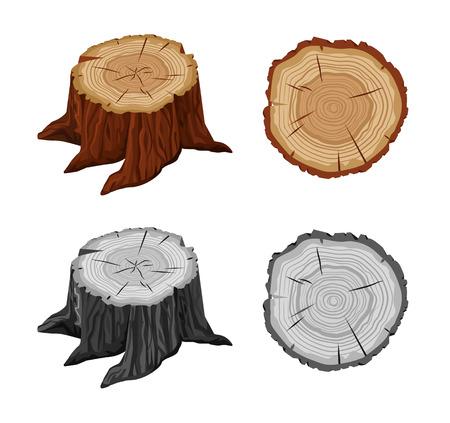 Tree stump. Vector flat illustration set Vectores