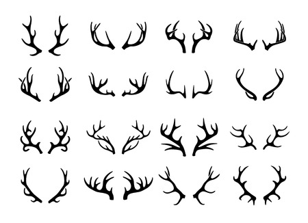 head of animal: Vector deer antlers black icons set Illustration