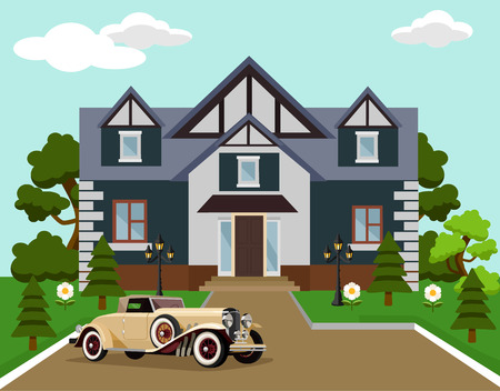 rich life: Mansion with car. Vector flat illustration