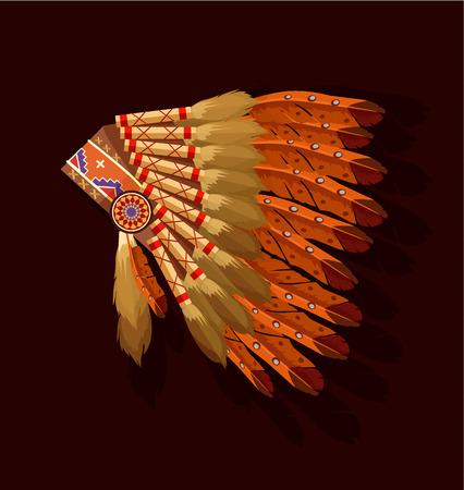 indian chief headdress: Indiano copricapo capo. Vector piatta illustrazione