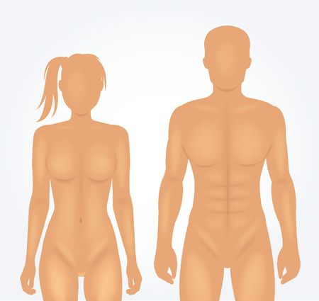 silueta masculina: El hombre y la plantilla del cuerpo de la mujer. Ilustración vectorial