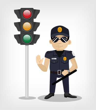 red traffic light: Policeman with traffic lights. Vector flat illustration