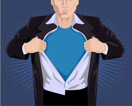 undressing: Superhero opening shirt. Vector illustration