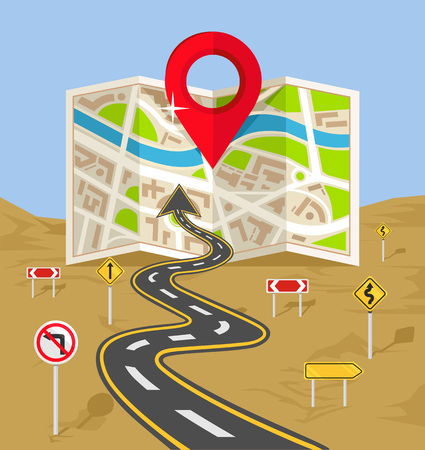 road: Vector wavy road with map flat illustration Illustration